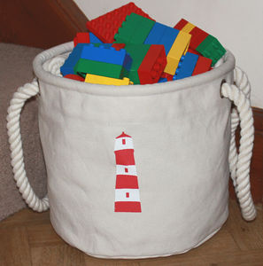 Canvas Toy Storage Bucket Bag, Medium - toy boxes & chests