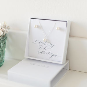 Bridesmaid Pearl Pendant And Earring Gift Set - bridesmaid gifts