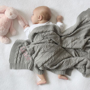 Personalised Cable Knit Grey Blanket - baby care