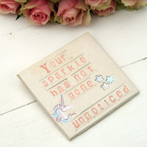 Sparkle Unicorn Ceramic Coaster - unicorns