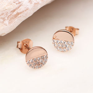 Rose Gold And Swarovski Crystal Disc Earrings