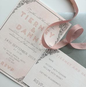 Blush Watercolour Art Deco Border Invitation