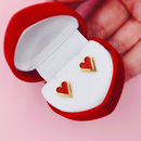 Gold And Red Heart Stud Earrings