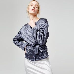 Luxury Quilted Jacket In Pure Italian Silk - lounge & activewear