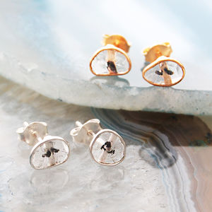 Rose Gold Silver Diamond Slice Stud Earrings - gifts for her