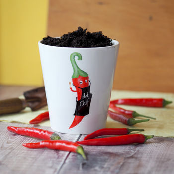 Hot Chilli Chef Plant Pot With Chilli Seeds
