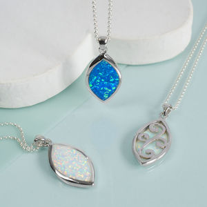 Sterling Silver Elipse Opal Necklace