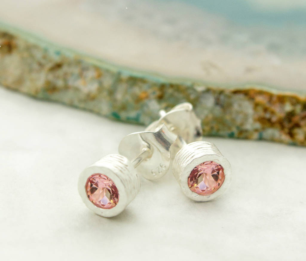 Pink Tourmaline Birthstone Silver Stud Earrings