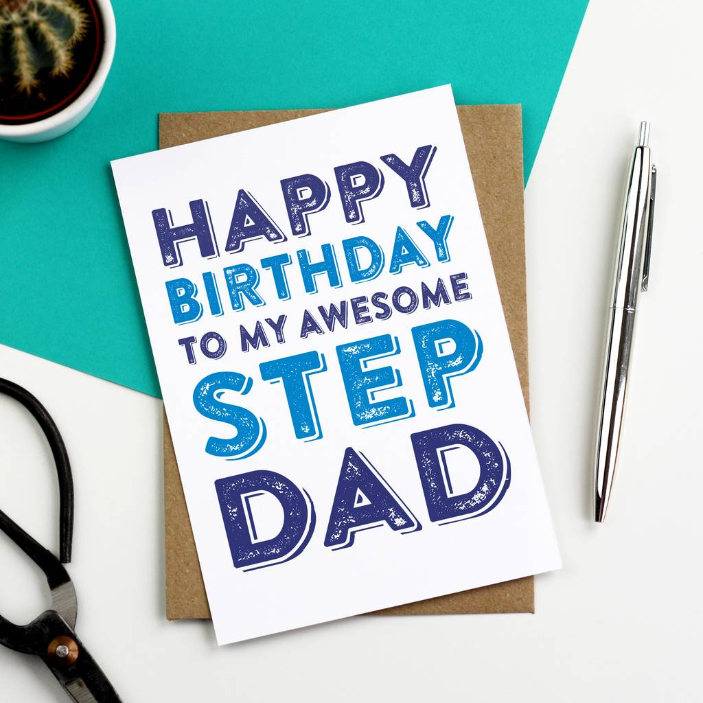 Happy Birthday To My Awesome Step Dad Greetings Card