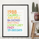 personalised 30th gift BRIGHT HUES