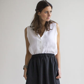 White Linen Sleeveless Shirt