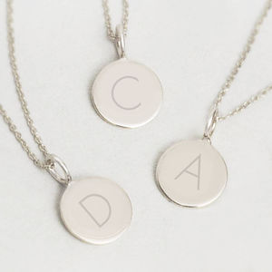 Contemporary Sterling Silver Initial Pendant Necklace