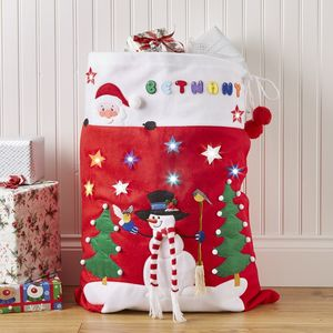 Christmas Sack With LED Light Up Stars - stockings & sacks