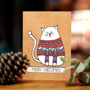 Cat Christmas Jumper Card - cards & wrap