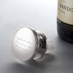 Personalised Silver Wine Bottle Stopper - best anniversary gifts