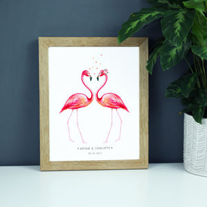 Personalised Anniversary Flamingoes Print