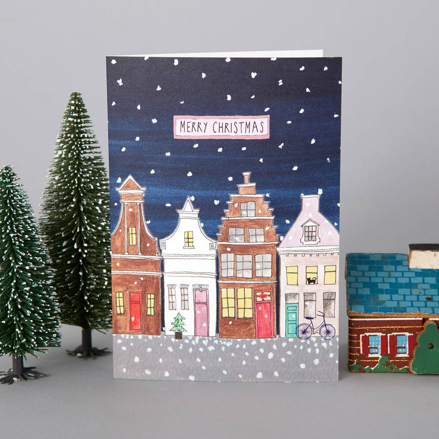 A set of six dutch street christmas cards by rosa clara designs a set of six dutch street christmas cards m4hsunfo