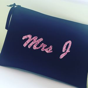 Personalised New Bride Clutch Bag