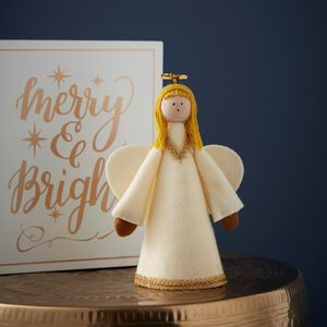Handmade Cream And Gold Angel Tree Topper - tree toppers
