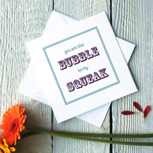 Personalised Bubble And Squeak Valentines Card