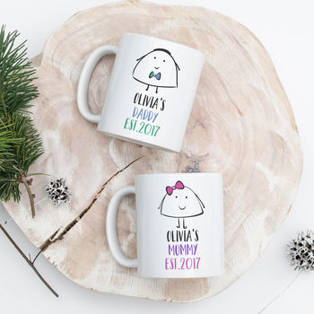 Set Of Personalised Mummy And Daddy Mugs