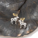 Stag Earrings In Solid Silver With 18 Ct Gold Vermeil