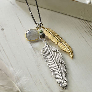 Silver And Gold Feather Necklace - necklaces & pendants