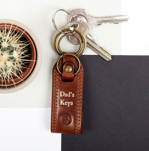 Personalised Father's Day Leather Keyring