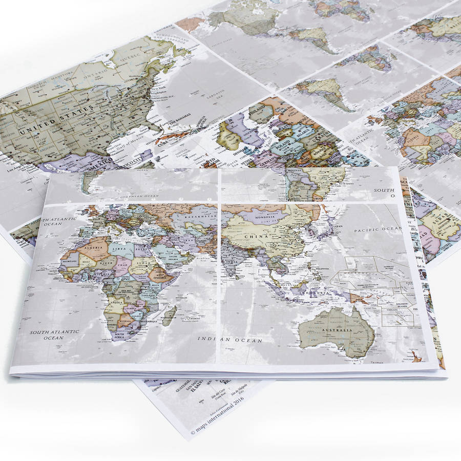 classic world map wrapping paper by maps international ...