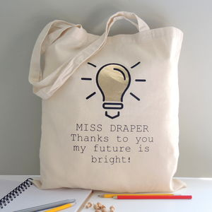 Personalised Teacher Light Bulb Tote Bag - baby's room