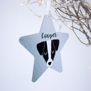 Silver Printed Dog Christmas Decoration Personalised - tree decorations