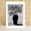 Black And White Print Of Roses