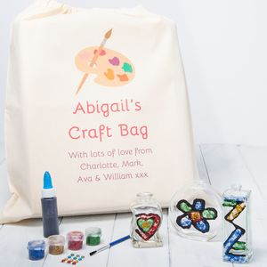 Glass Art Painting Craft Kit With Personalised Gift Bag - baby & child