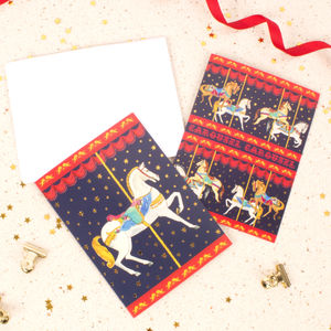Carousel Set Of Notecards And Envelopes - winter sale