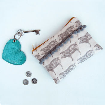 Grey Pig Purse With Grey Pom Poms