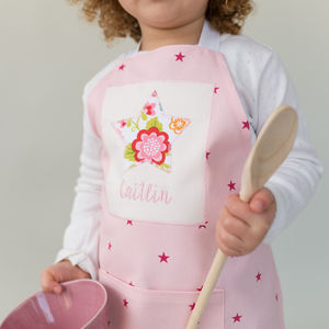 Handmade Personalised Pink Star Apron - children's cooking