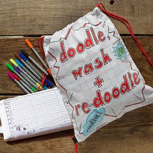 Doodle Backpack And Pencil Case With Wash Out Pens