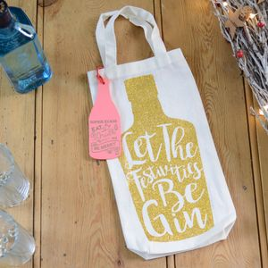 Christmas Festivities Be Gin Personalised Bottle Bag
