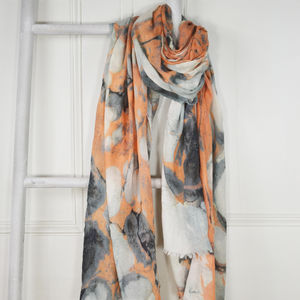 Calcite Orange And Grey Marble Print Wool Silk Scarf
