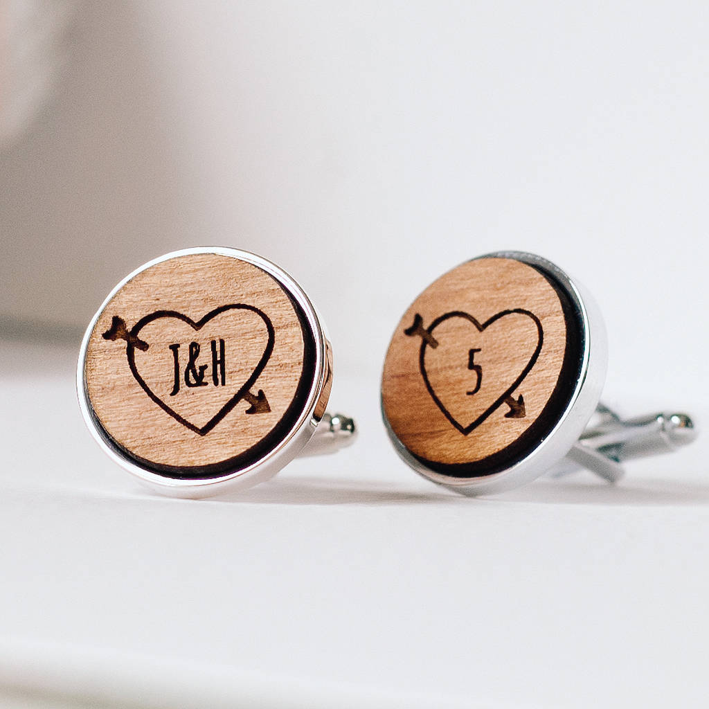 Personalised Fifth Wedding Anniversary Wooden Cufflinks By The Drifting Bear Co Notonthehighstreet Com