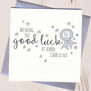 Personalised Rosette Good Luck At School Card