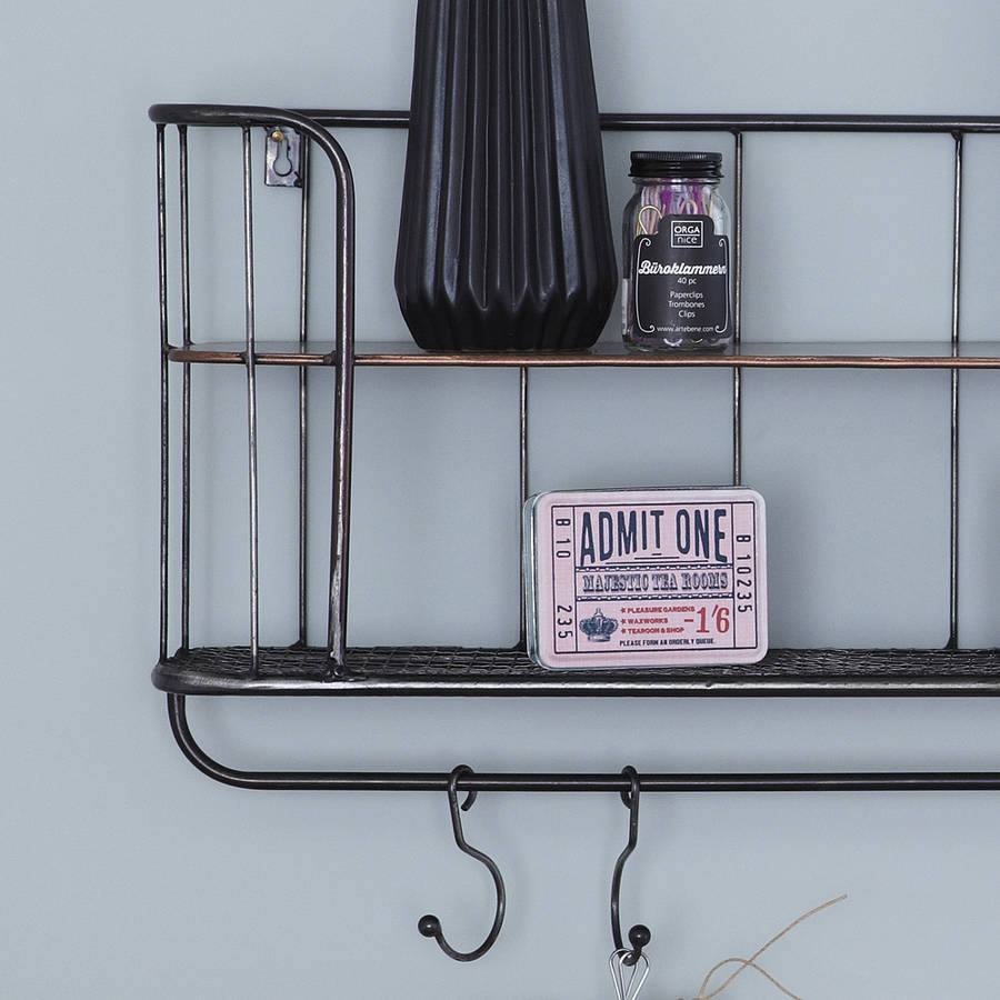 Two shelf metal wall rack by primrose plum - Wall metal shelf ...