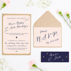 Calligraphy Blush And Navy Wedding Invitation