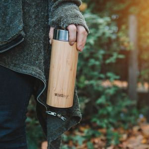 Personalised Reusable Sustainable Bamboo Water Bottle - natural materials