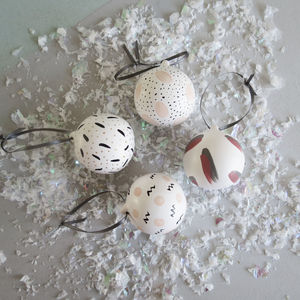 Hand Painted Modern Patterned Ceramic Baubles