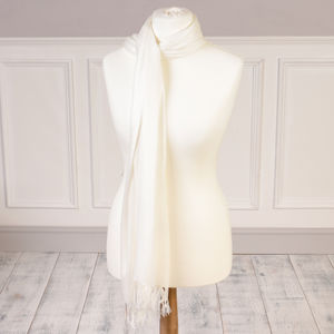 Personalised Luxury Ivory Pashmina Shawl - scarves