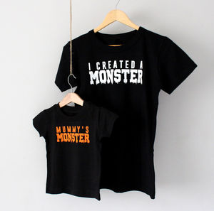 Halloween Monster Parent And Baby T Shirt Set - babies' mum & me sets