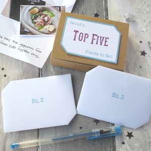 Foodie Gift 'Top Five Places To Eat' Keepsake Box