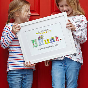 Personalised Welly Boot Family Print - gifts for her