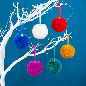 Pom Pom Christmas Tree Bauble Set